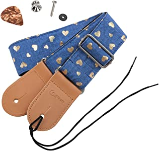 HOT SEAL Cute Printed Adjustable Genuine Leather Metal Hook Guitar Strap Bass Universal Strong Back Straps (Heart-shaped blue)