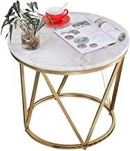 Furniture Coffee Table, Marble Side Table Nordic Iron Art Small Round Table Coffee Table Corner Table Bedside Table for Li...