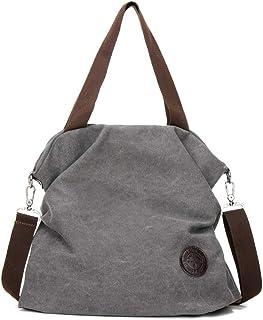 MINGZE Handtasche Damen, Casual Canvas Umhängetasche Taschen Strandtasche Schultertasche Shopper Beuteltasche für Arbeit Schule Ausflug Grau