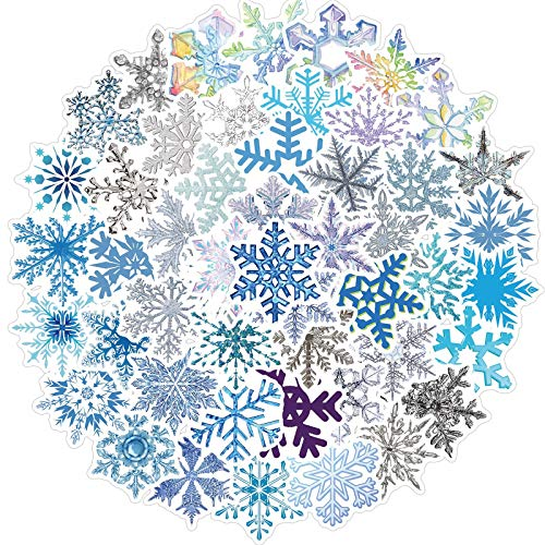 Cool Summer Decoration Snowflakes Stickers for Water Bottles 50 pcs Cute,Waterproof,Aesthetic,Trendy Stickers for Teens,Girls Perfect for Waterbottle,Laptop,Phone,Travel Extra Durable Vinyl (Snowflakes)