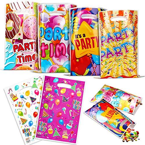 LOVEXIU Sac Anniversaire Enfant(60 Pieces),Pochette Bonbon Anniversaire, Sacs de Fête,Sac Cadeau,Sac en Plastique de Bonbon ,Sac Coloré Sac de Pâques Sac de Noël Sac de Bonbons