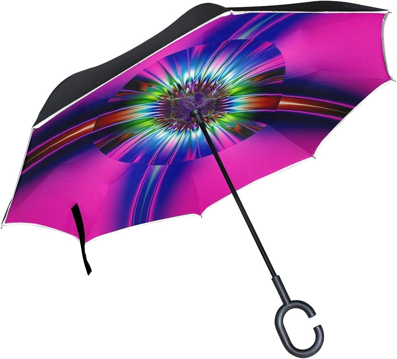 Double Layer Ingreened Abstract Art Fractal Creative Artwork Modern Art 1484530 Umbrellas Reverse Folding Umbrella Windproof Uv Predection Big Straight Umbrella For Car Rain Outdoor With Cshaped Handle