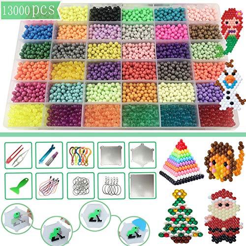 Perle a eau,Perles Collantes,36 Couleurs 13000 Perles avec Kit Complet,DIY Kit de Loisirs Créatifs Perles d'eau avec Accessoires Enfant Cadeau pour Anniversaire Noël