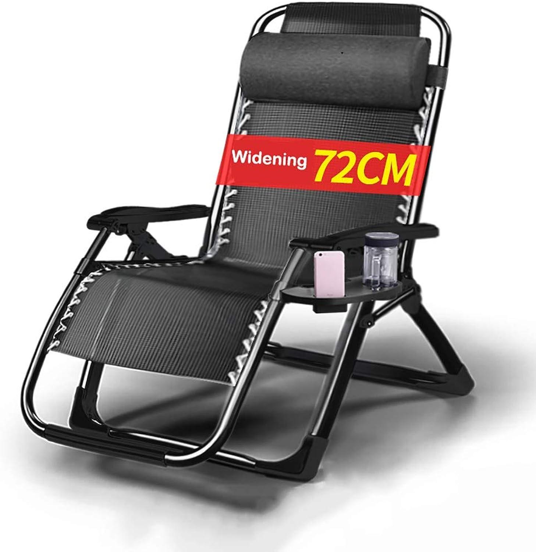 Liegestuhl Hochleistungs-Textoline mit Becherhaltern, Multi-Position-Sonnenliegen Garten-Gartenstühle, Schwarz - Max Load 200kg Deckchairs