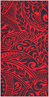Jade Fashions Inc. Hawaiian Men's Lava Lava Royal Red Tattoo Sarong Wrap