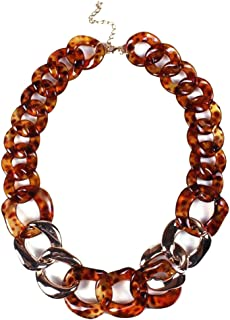HoGadget Women Twist Chain Necklace Chunky Resin Statement Chain Jewelry