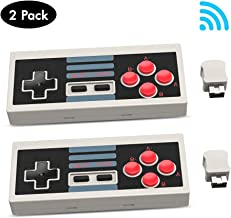 CrazyFire 2 Pack NES Wireless Controller Portable Gamepad NES Classic Edition Mini Controller for Nintendo,with 2.4G Wireless Receiver( Gray )