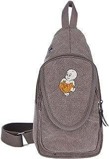 Casper Hero Halloween Casual Canvas Unbalance Backpack Sling Bag Men Shoulder Bag Chest Bag