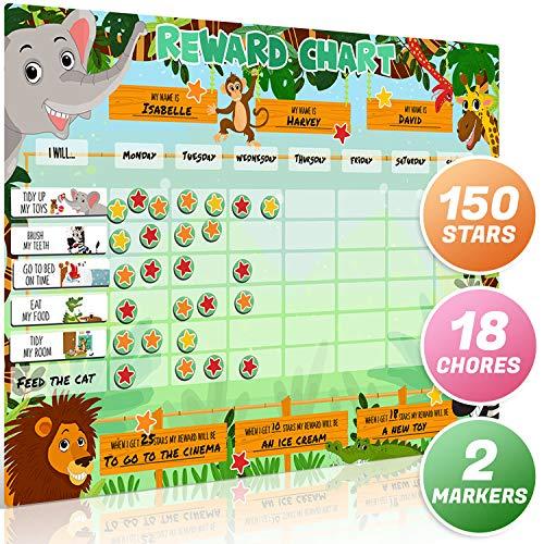 Luigis große magnetische Stern- / Belohnungstabelle für Safari-Tiere für Kinder: Fördert gutes Verhalten und kann durch Auswahl von Magneten und Trockenlöschfunktion angepasst werden