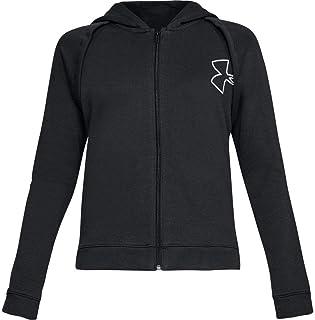 Under Armour Rival Fleece Fz Hoodie Sportswear Top for Women Black & White, M