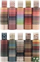 100 Rolls Vintage Washi Tape Set, NogaMoga Basic Collection 10mm/25mm Wide Solid Color Masking Tapes, Writable Decoration ...