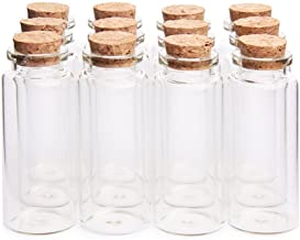 "Danmu 30ml 1.18"" x 2.75"" Mini Glass Bottles, Jars with Wood Cork Stoppers, Tiny Glass Jars, Wishing Bottles, Message Bottle for Wedding Favors, Baby Shower Favors, DIY Craft (12Pcs)"
