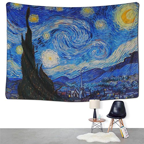Qcwn Starry Night By Vincent Van Gogh Art Oil Painting Tapestry Wall Hanging For Bedroom Living Room Dorm Home Decoration Art 1 78wx59l