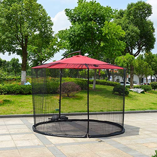 SUNYUE Moustiquaire de Patio moustiquaire - Tube d'eau à la Base pour Tenir en Place - Protège des moustiques - Convient aux parasols de 9 Pieds et aux Tables de Patio - Noir