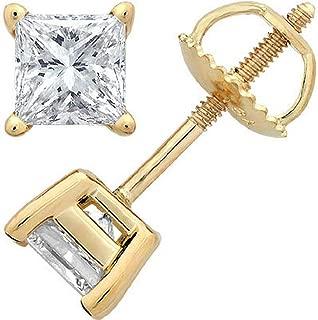 1.2 Carat Solitaire Diamond Stud Earrings Princess Cut 4 Prong Screw Back (I-J Color, I2 Clarity)