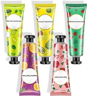 waterfaill WATERFAIL 5PCS Crema De Manos De Fruta Fresca, Crema Hidratante De Tipo Simple para La Piel, Ciruela Silvestre/Verduras Silvestres/Rosa/Aguacate/Pomelo