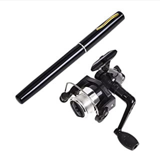 Gooteff 39inch Mini Portable Pocket Aluminum Alloy Fishing Rod Pen and ABS Reel Fish Wheel Set for Outdoor Travel Surf Saltwater Freshwater Bass Boat Fishing