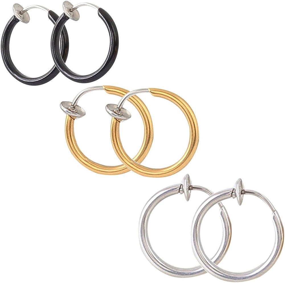 3 Pairs Assorted Color Set Fake Clip on Hoop Earrings