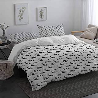 Duvet Cover Size 3 Piece Cat Cute Domestic Animals Chasing After Yarn Balls Jumping Playful Kitties Feline Fun Bedding Set for Men, Women, Boys and Girls Black WhiteTwin
