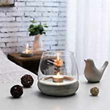 MyGift Clear Glass Terrarium Tealight Candle Holder with Removable Concrete Gray Base, Set of 2