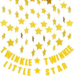 "4 Glitter Star Garland&1""Twinkle Twinkle Little Star""Banner Decoration, Decor for Birthday Party Baby Shower Christmas Weddings Christenings Barbecue Fetes Gard"