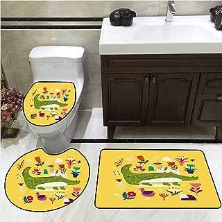 Cartoon Toilet Rug and mat Set Animal Botany Florals Crocodile Toilet Lid Cover Set