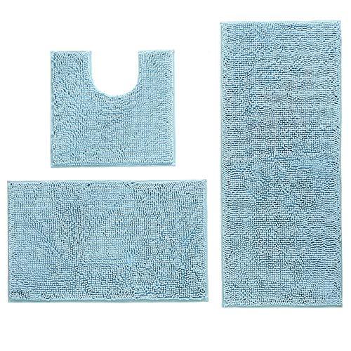 Heritan Juego de 3 alfombras de baño antideslizantes de felpilla, lavables, absorbentes, felpa, para bañera, inodoro, ducha, color azul