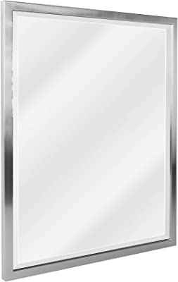 Amazon Com Head West 24 X 30 Classic Brush Nickel 1 In Wide Metal Frame Wall Mirror 24 X 30 Home Kitchen