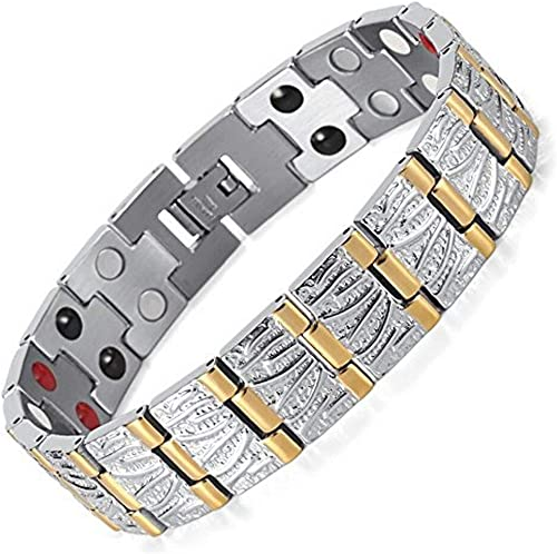 University Trendz Health Care Bio Magnet Double Tone Magnetic Plating Charm Bracelet for Boys Men Silver Gold