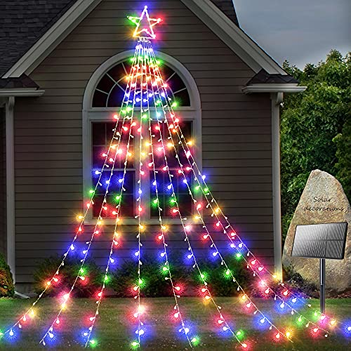 KNONEW Solar Yard Decorations Star Lights 344 LED 8 Modes Outdoor Waterproof Solar Powered Garden Star Lights for Christmas Holiday Wedding Party Wall Decorative Twinkle String Lights (Multicolor)