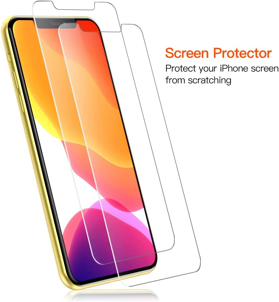 BELONGME Compatible with iPhone 11 Case - [Anti-Yellowing, Scratch Resistant] Shockproof Protective Phone Case Cover with [2-Pack] Tempered Glass Screen Protector for iPhone 11 - Crystal Clear