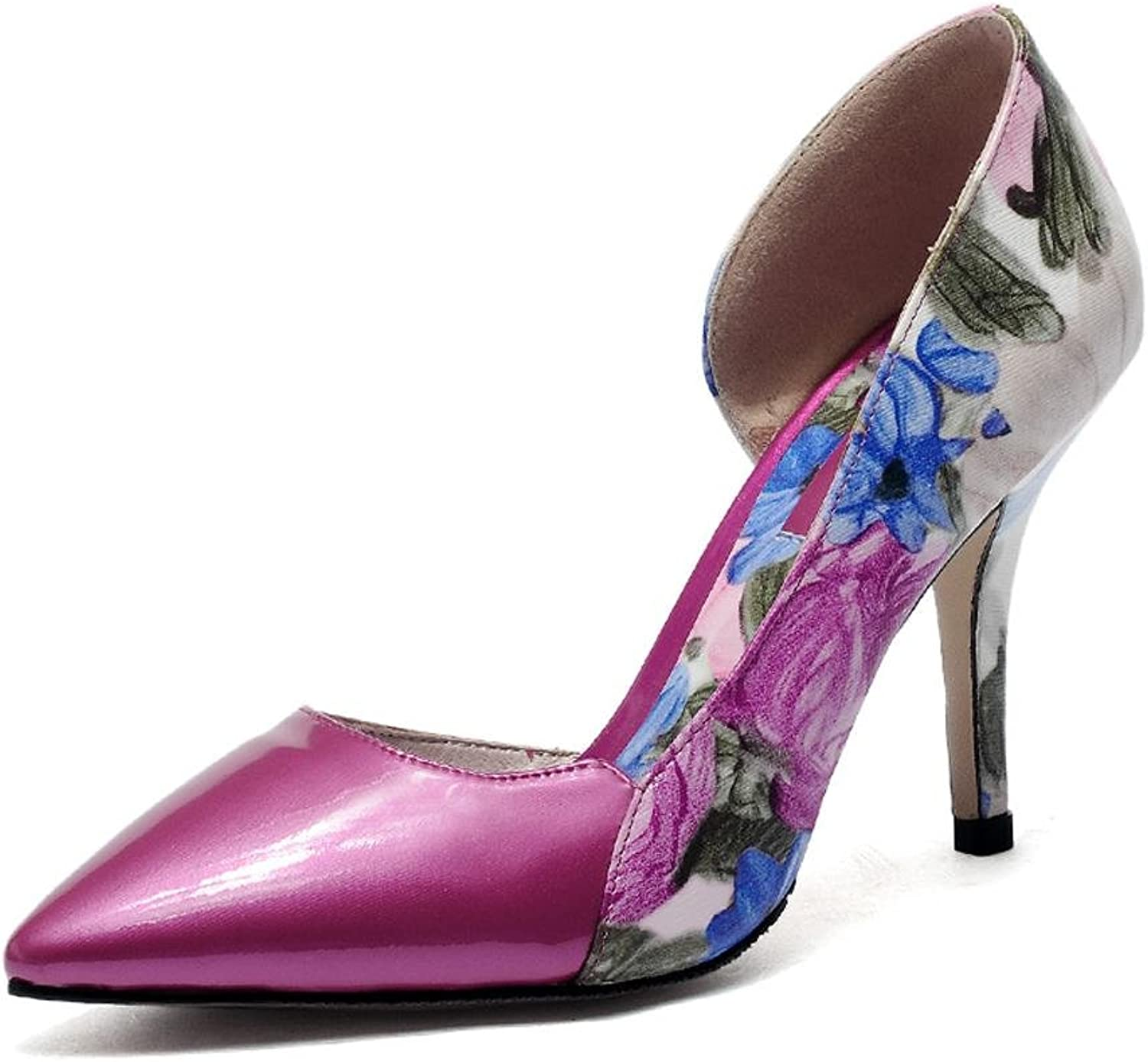 Women's High Heels Summer and Autumn Leather Tip Fine with Large Size Printing Dance shoes