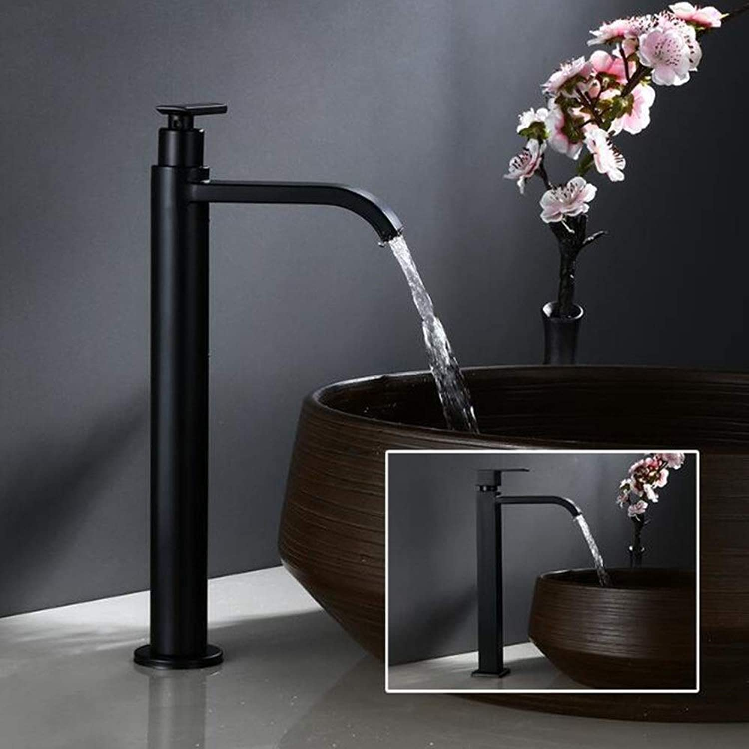 Towero Single cold black bathroom counter basin faucet 304 stainless steel art basin faucet (Size   30)