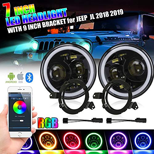 7 inch RGB Led Headlight with Halo Angel Eyes+9 inch Omnidirectional Round JL Headlight Mounting Bracket with Adapters for Jeep Wrangler JL 2018 2019