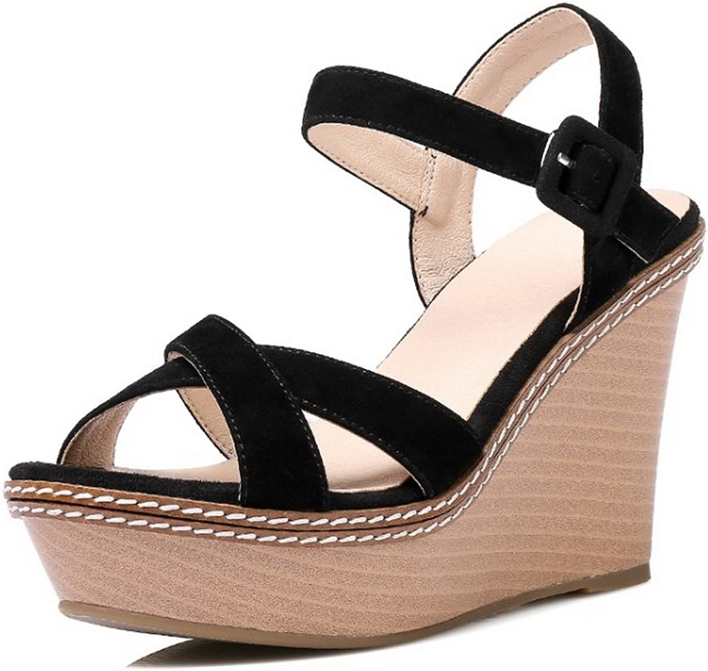 BalaMasa Womens Platforms-Sandals Solid Mule Urethane Platforms Sandals ASL05474