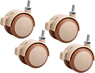 4 x Meubelwielen Rubber Silent Swivel Wheels met rem M6 / M8 Vervanging Wieg Casters 360 Graden Universele Castor Wheels P...
