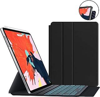 iPad Pro 11 Backlit-Keyboard Case JUQITECH Magnetic Backlit Smart Keyboard Case for iPad Pro 11 2018 Wireless Keyboard Full Magnetic Slim Backlight Keyboard Cover Support Apple Pencil Charging, Black