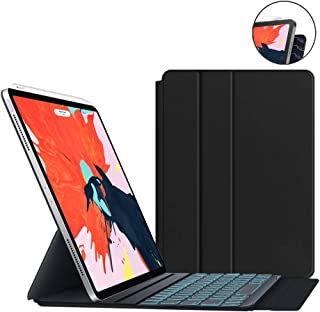 JUQITECH Magnetic Backlit Smart Keyboard Folio Case for iPad Pro 11 2018 Wireless Bluetooth Keyboard Full Magnetic Slim 7 Colors Backlight Keyboard Case Cover Support Apple Pencil Pair&Charging, Black