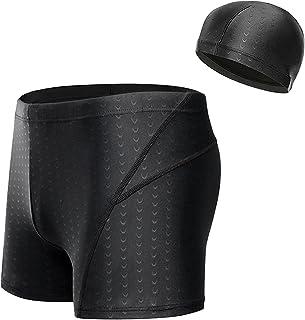 Men Adjustable Drawstring Swim Shorts Board Shorts Swimwear Quick-Dry Beach Shorts with Swimming Cap