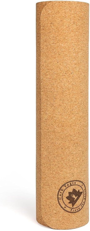 Corkyogis Premium 5mm Luxus Kork Yoga Mat mit 5mm dick Rutschfeste 180,3x 68,6cm für Pilates, Fitnessstudio & übungs -