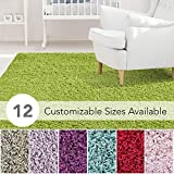 iCustomRug Affordable Shaggy Rug Dixie Cozy & Soft Kids Shag Area Rug Solid Color Lime Green, for Children's Play Area, Bedroom or Nursery Carpet 5' x 7'