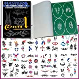 Master Airbrush Airbrush Tattoo Stencils Set Book #1 Reuseable Tattoo Template Set, Book Contains 100 Unique Stencil Designs High Quality Vinyl Sheets with a Self Adhesive Backing.