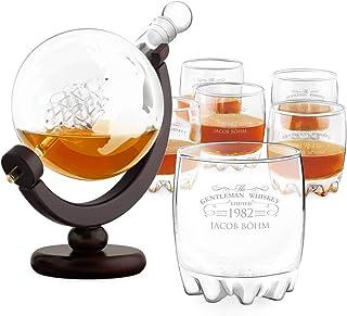 Murrano Whisky Karaffe mit Gravur - Globus mit Schiff, 850 ml - 6er Whiskygläser Set - Whisky Dekanter - Geschenk zum Geburtstag für Männer - personalisiert - Gentleman Whiskey