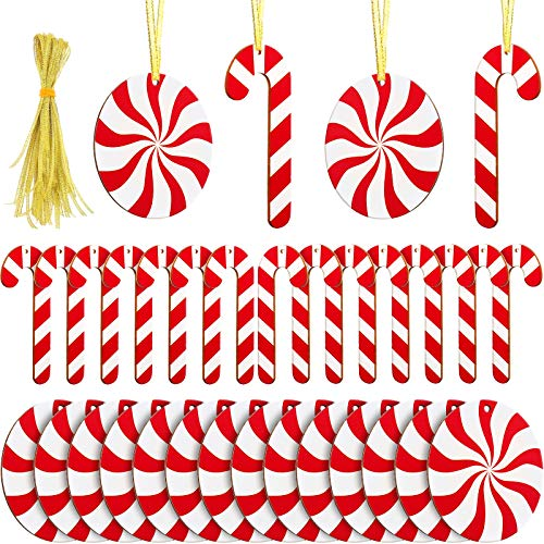 30 Pieces Candy Hanging Ornaments Candy Cane Christmas Tree Hanging Decorations Peppermint Cutouts Hanging Ornaments with Cord for Craft Home Party Decorative Supplies