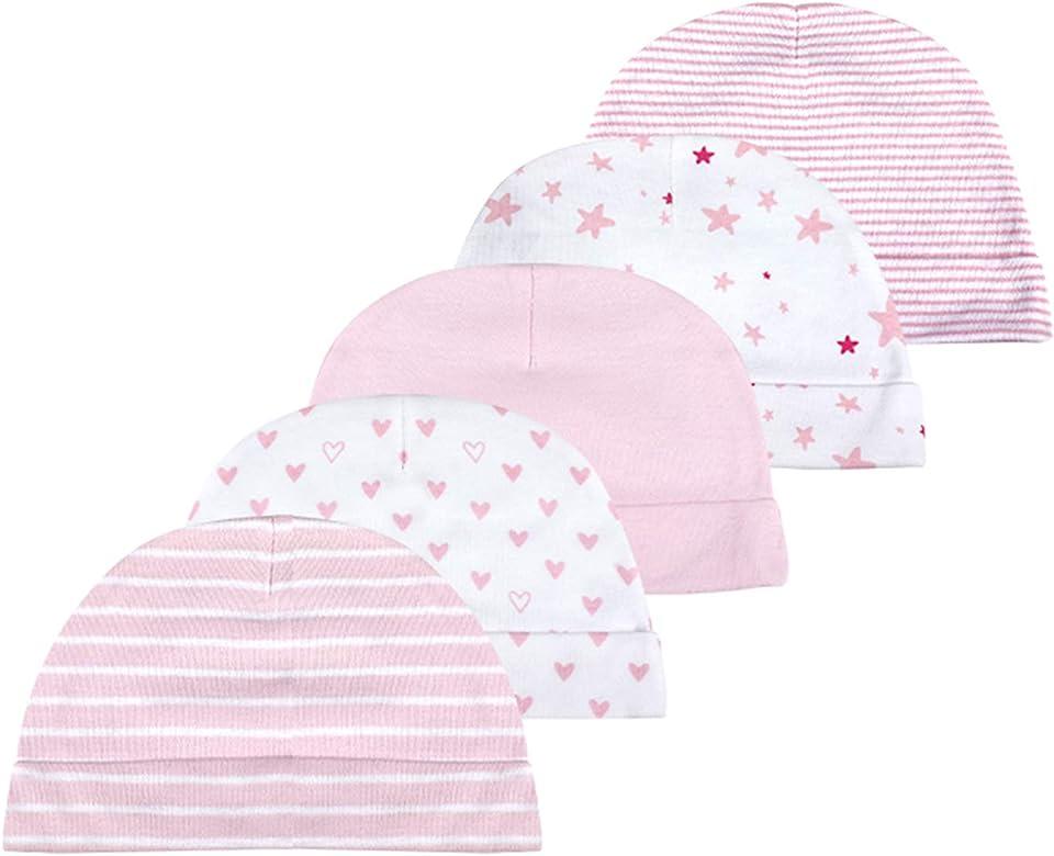 Baby-Mütze und Fäustlinge, Set für Neugeborene, 5 Mützen und 5 Paar Fäustlinge, für Babys, Jungen und Mädchen, 0–6 Monate, 100 % Baumwolle