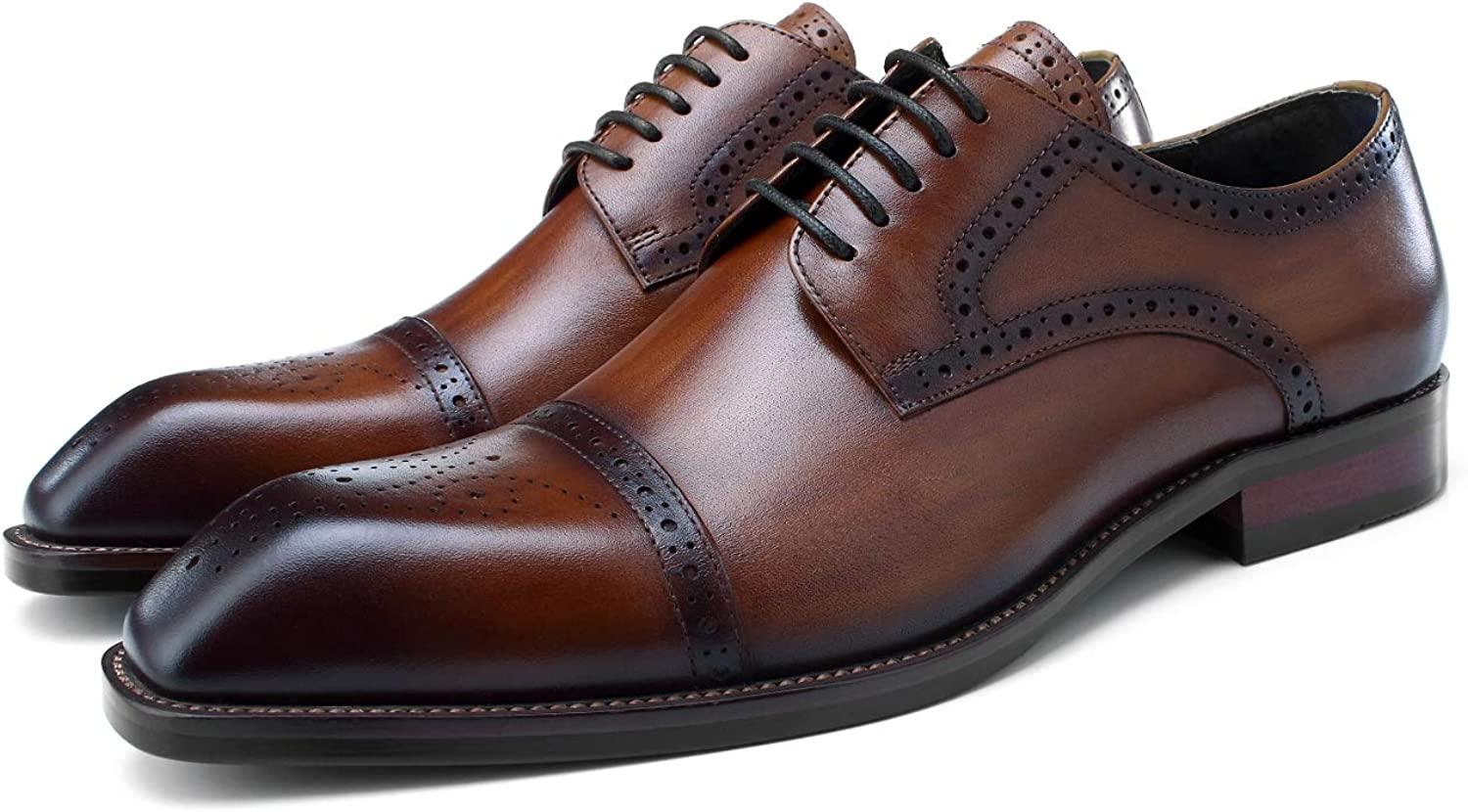 BONGZUO Derby shoes, Square Head Carved Derby Handmade European Version Business Dress Men Leather Breathable Leather shoes, YMP64-D3H