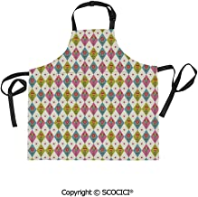 SCOCICI Fabric Durable Unisex Apron with 2 Pockets-Extra Long Ties, Cute Tulips Pattern Inside Geometric Rhombus Diamonds and Hearts Artsy Print,Home Baking or Kitchen Cooking