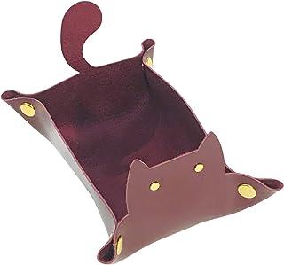 [Cicogna] レザー トレイ 猫 小物入れ 折り畳み 収納トレー アクセサリー 鍵 時計 指輪 メガネ 収納 ケース ボックス 革 ネコ 猫グッズ 雑貨 かわいい プレゼント (ワインレッド)