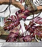 Soimoi Orange Baumwoll-Popeline Stoff Tropische Blätter,