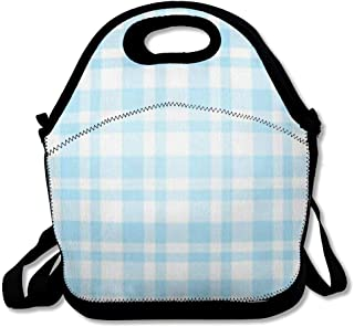 Insulated Lunch Bag for Women Men Restaurant Blue Picnic Checkered Table Pattern Light Abstract Plaid Christmas Bakery Bistro Breakfast Reusable Lunch tote for Work Picnic School